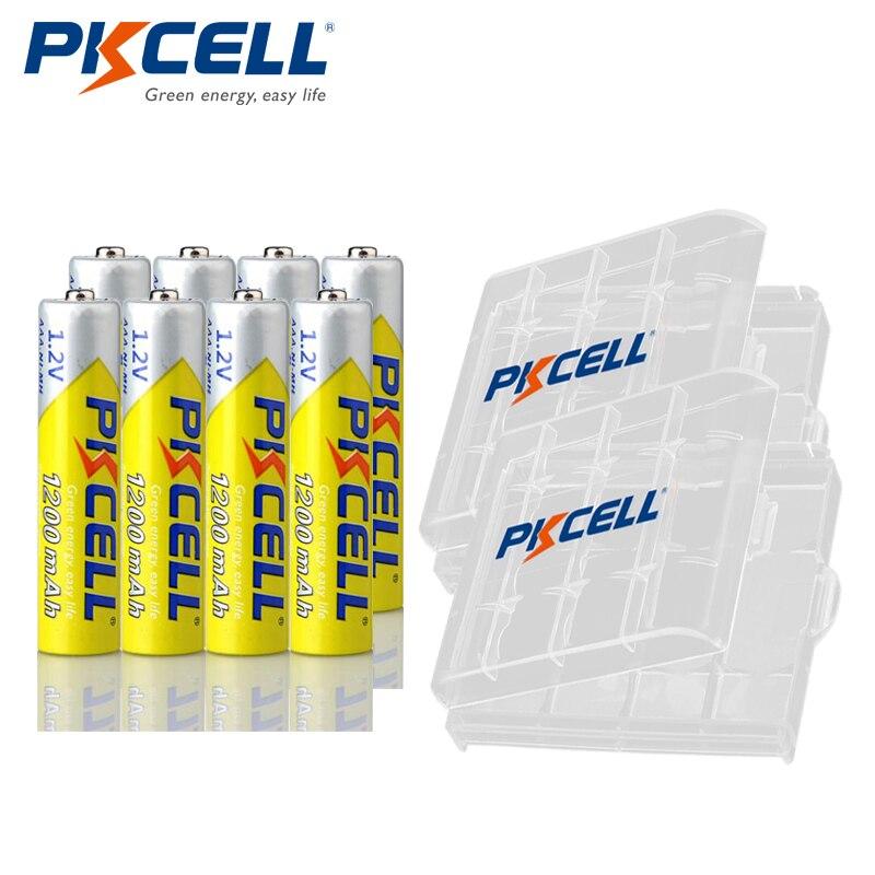8pcs PKCELL NIMH AAA Battery 1.2V 1200mAh Nimh Rechargeable Aaa Batteries +2pcs Battery Holder Case