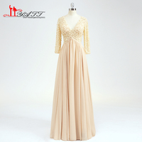 In Stock Real Photos Plus Size Gown Champagne Empire Elegant 3/4 Sleeves Sheer Lace V Neck Pearls Formal Long Elegant Evening