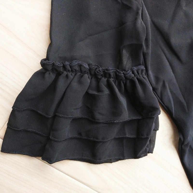 2517b2ae5c New 2018 Big Size Girls Dress Summer Petal Sleeve Chiffon Kids Girls Dress  Teenager Girls Vestidos Black Girl Dress 6 - 16 years