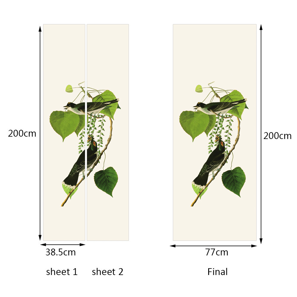 Creative DIY 3D Effect Bird Leaves Door Stickers Pattern for Room Wall Decoration Home Decor Accessories Wall Sticker in Wall Stickers from Home Garden