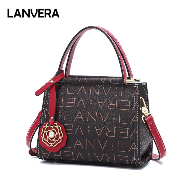 купить LANVERA brand women casual plaid totes rivet sequined pearl handbag hotsale lady shopping purse crossbody shoulder messenger bag по цене 2036.53 рублей