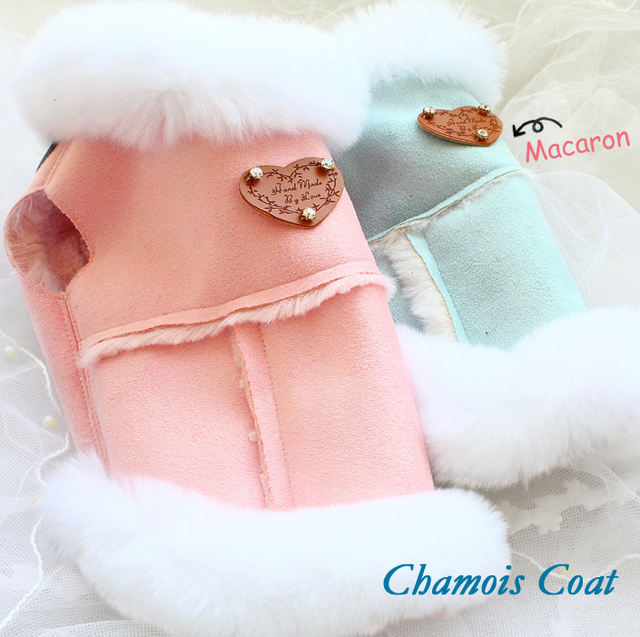 Free shipping handmade luxury dog clothes fur-in-one suede fur warm thick lining dog coat pet jacket winter