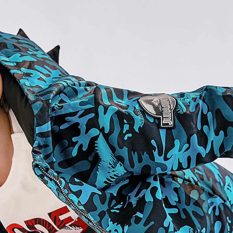 Мини Balabala/длинная куртка с принтом динозавра для мальчиков куртка с капюшоном ветровка для маленьких мальчиков верхняя одежда, осенняя одежда
