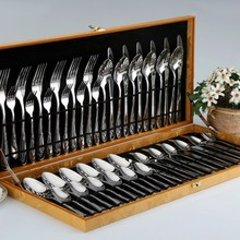 48pcs/set Tableware Stainless Steel Knife Fork Spoon Flatware Gift Box Set Cutlery Set Dinnerware Tableware Silverware
