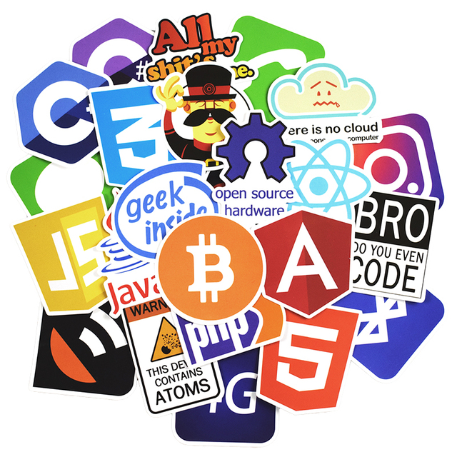 50 Pcs Internet Java JS Php Html Cloud Docker Bitcoin Programming Language APP Logo Cool Stickers for Laptop Car DIY Stickers