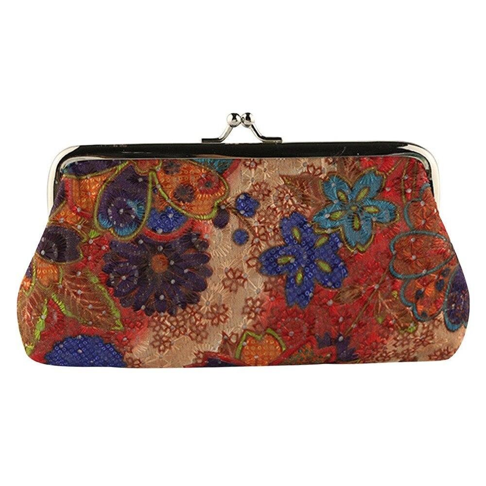 hot sale Women Lady coin purses Retro Vintage Flower Small Wallet Hasp Purse Clutch female purse Carteira Feminina