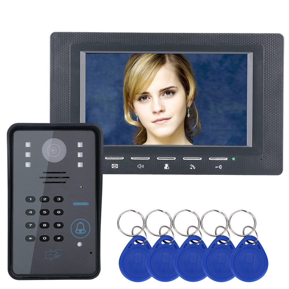 Wired Video Door Phone 7 Inch Color TFT LCD Smart Video Intercom Doorbell with IR Night Vision Camera Support ID Card Unlock