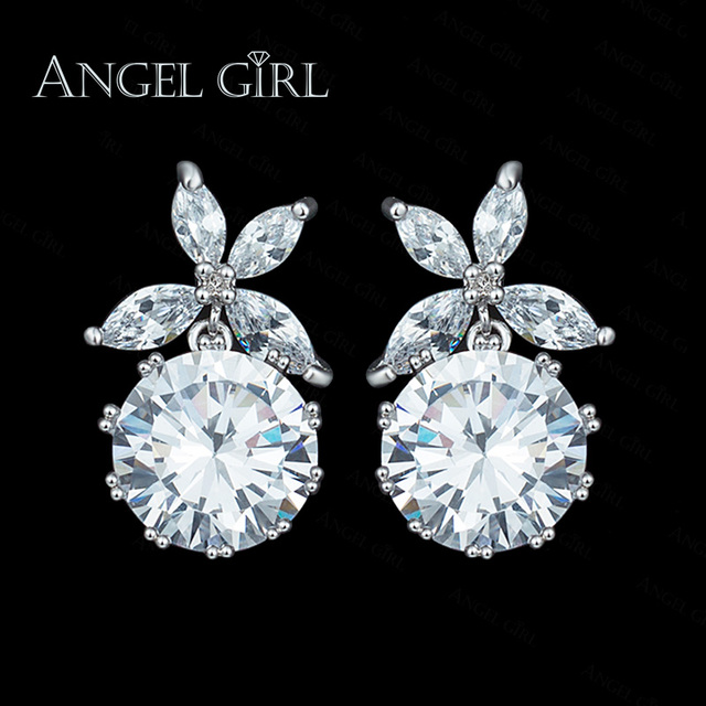 Angel 2017 White Bella Crystal Earrings For Women Real Fashion Drop Party Jewelry