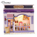 Kids Creative DIY Doll House Room Box Home Handmade Toy Purple Shop Model Kit Assemble Miniature Dollhouse Toys Girl Lovely Gift