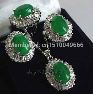 sale FREE SHIP>>>>>Hot sell! green STONE crystal ladys earrings pendant necklace ring set size:8#sale FREE SHIP>>>>>Hot sell! green STONE crystal ladys earrings pendant necklace ring set size:8#