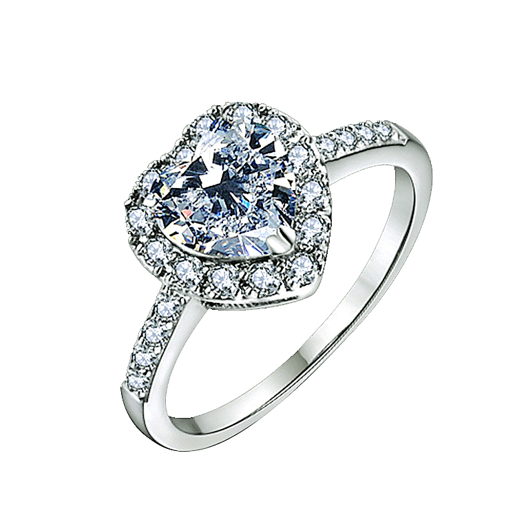 Brand Design Heart-shape Luxury Engagement Ring White Gold Color AAA Clear Zirconia Micro Inlays Woman Fashion Rings