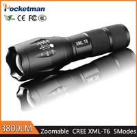 2018 High Bright New Pocketman 5 Mode Zoomable E17 LED Flashlight Torch Waterproof 3x AAA Led