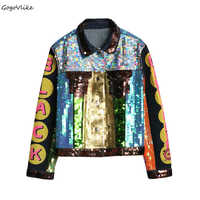 Women Jean jacket Colorful Sequins 2018 Spring Motorcycle Denim Coat girl Color Block coats Punk Loose Long Sleeve LT689S40