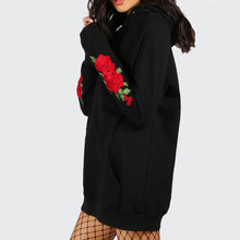7487289c (Ship from US) Autumn Winter Oversized Hoodies Vintage Rose Embroidery  Loose Hooded Women Girls Sweatshirt Hip Hop Hoody Tracksuit Pullover 5XL