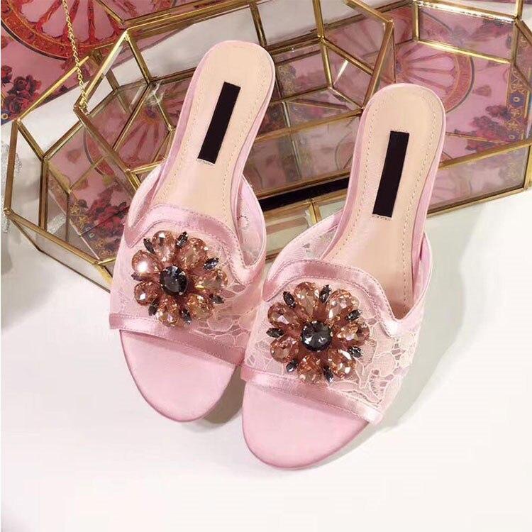 Toe Mujeres Peep Talón Del Cristal Low Superior Zapatillas On Verano Slip Cordón Show As as Show Flor Colorido Lujo La Zapatos Chunky Seda Bling De Diapositivas Diamante wn0qX8a0O