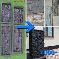 4 Pcs Plastic Molds For Concrete Plaster Cement Wall Stone Tiles Plaster Form For DIY Garden