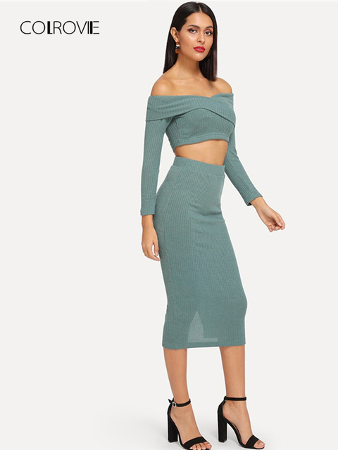 c674b3b22af COLROVIE Green Solid Off the Shoulder Long Sleeve Elegant Sweater Top &  Skirt Two Piece Sets Women Set 2018 Autumn Sexy Suits