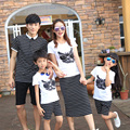 Family Clothes Mother Father Daughter Set Son T Shirt and Shorts Set Summer Matching Outfit Black and White Striped Clothing Set