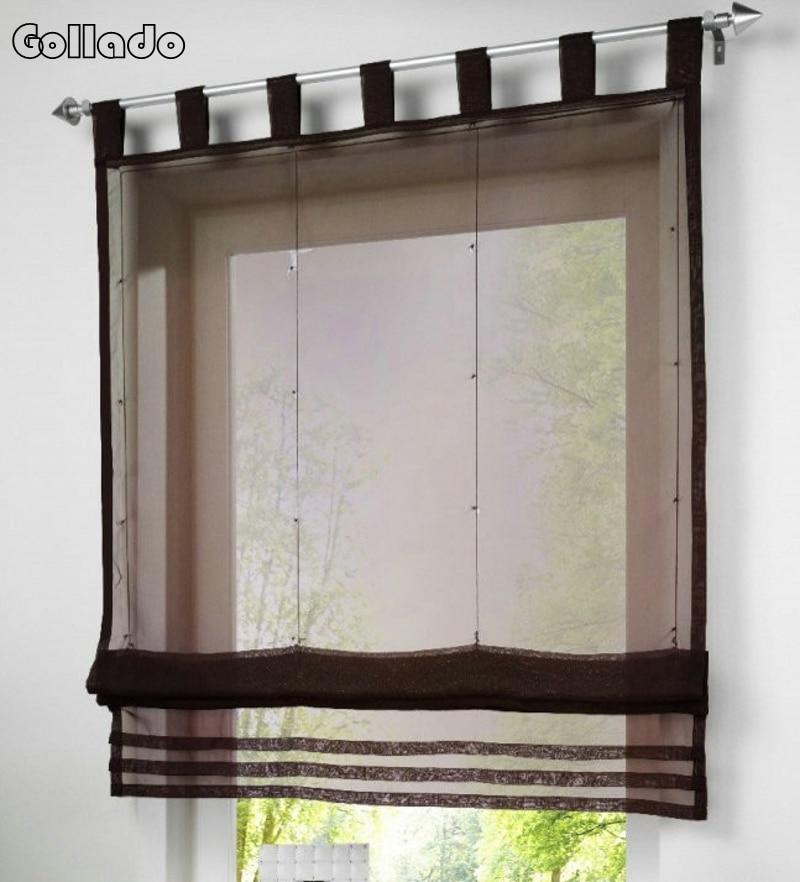 Nuevo europeo Popular Color sólido cocina balcón Voile persianas romanas cortina de ventana transparente 1 unid