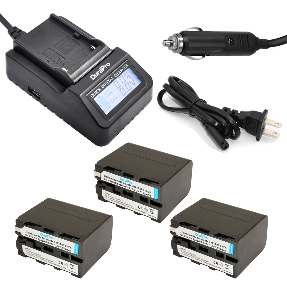 DuraPro 3Pcs NP-F960 NP-F970 Battery + LCD Ultra Quick Charger for Sony HVR-HD1000 V1J V1J CCD-TRV26E DCR-TR8000 PLM-A55 HVR-V1U quick dual charger bc trv with lcd for sony np fv30 fv50 fv70 fv90 fv100 fh50 fh70 fh90 fh100 fp50 fp70 fp90 fp100 batteries