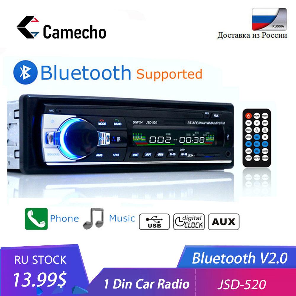 Camecho Autoradio רכב רדיו סטריאו FM Aux קלט מקלט SD USB JSD 520 12V ב דאש 1 דין רכב רדיו MP3 מולטימדיה נגן|רדיו לרכב|רכבים ואופנועים -