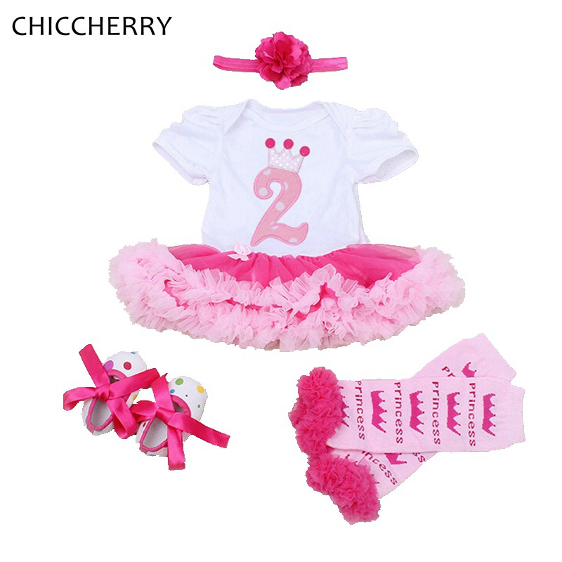 2 Years Old Birthday Girl Dress 4pcs Headband Set Infant Lace Tutu Party Dresses Roupas Bebe Elegant Toddler Baby Girls Clothes crown princess 1 year girl birthday dress headband infant lace tutu set toddler party outfits vestido cotton baby girl clothes
