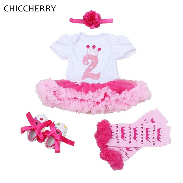 2 Years Old Birthday Girl Dress 4pcs Headband Set Infant Lace Tutu Party Dresses Roupas Bebe