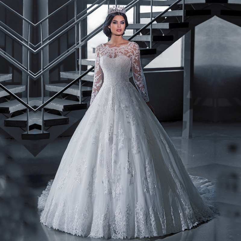 Vestido De Noiva Lace Winter Wedding Dress Long Sleeve See