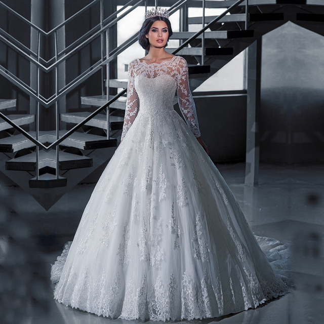 Vestido De Noiva Lace Winter Wedding Dress Long Sleeve See Through ...
