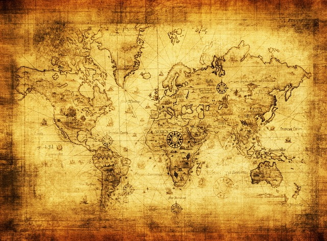 Vintage Canvas MapPaintings Of Old World Antique Imitated - Old world map