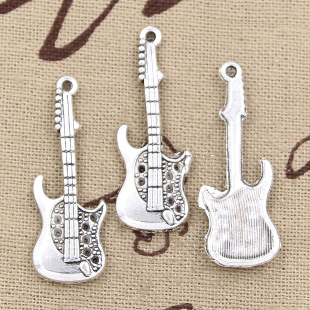 5pcs Charms Electic Guitar 36x12mm Antique Making Pendant Fit,Vintage Tibetan Silver,DIY Bracelet Necklace