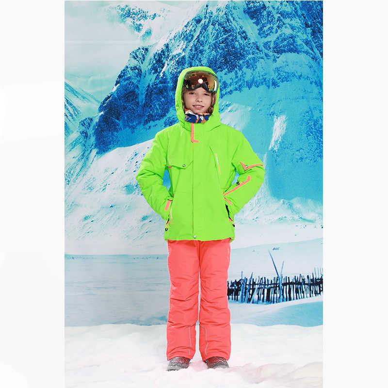 Детская одежда Зимний лыжный костюм ветрозащитные 5000лыжные куртки + штаны, детская зимняя одежда для девочек Одежда для мальчиков верхняя одежда-20-30 градусов