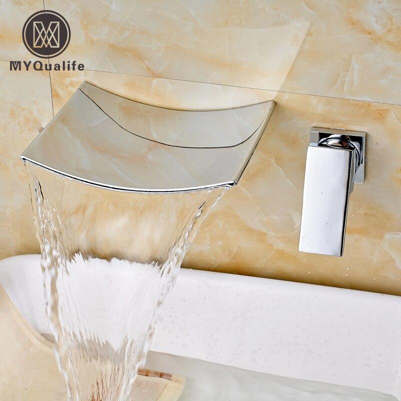 Robinet de lavabo salle de bains Chrome cascade bec mural robinet de lavabo mitigeur robinets deau chaude et froideRobinet de lavabo salle de bains Chrome cascade bec mural robinet de lavabo mitigeur robinets deau chaude et froide