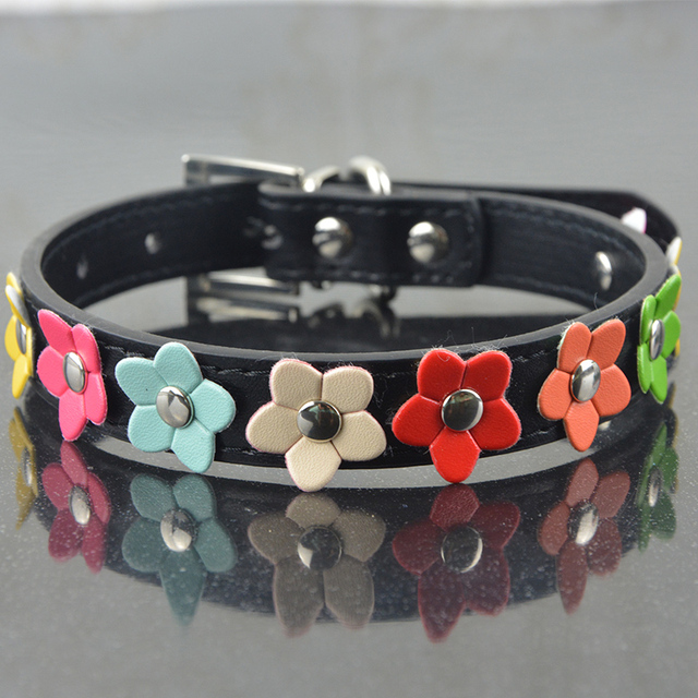 New Fashion PU Leather Dog Collar One Row Sun Flower Studded Small Dog Pet Teddy Necklace Collar 4