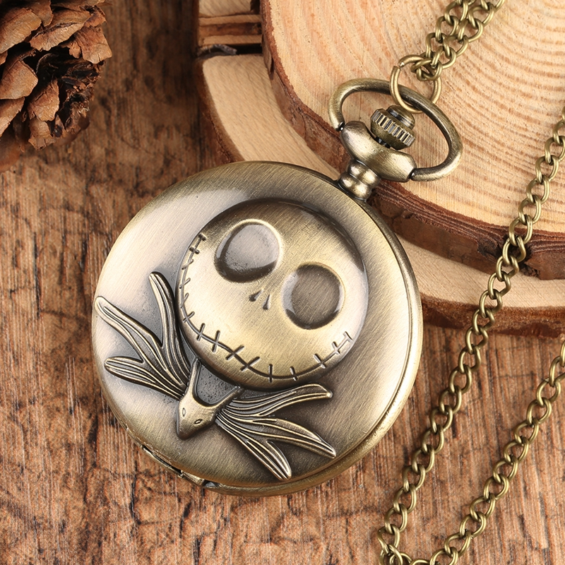 The Nightmare Before Christmas Quartz Pocket Watch Tim Burton Jack Skellington Pendant Necklace Relojes de bolsillo in Pocket Fob Watches from Watches