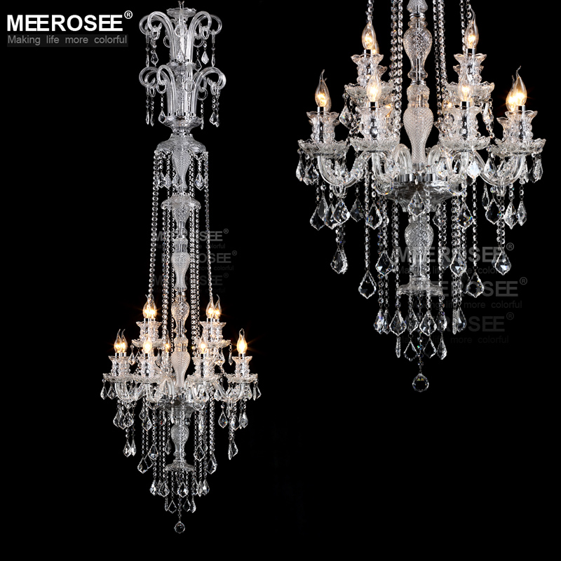 Long crystal chandelier light fixture 12 lights clear crystal stair long crystal chandelier light fixture 12 lights clear crystal stair lamp prompt shipping 100 guanrantee in chandeliers from lights lighting on aloadofball Choice Image