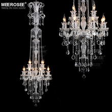 Long Crystal Chandelier Light Fixture 12 lights Clear Crystal Stair Lamp Prompt Shipping 100% Guanrantee chandelier light pattern stair stickers