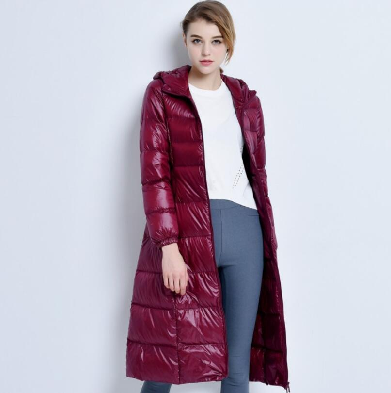 2019 Long   Down     Coat   Female Hooded Winter Thin and light   Down   Jackets Women Warm Women's Windbreaker parkas w756