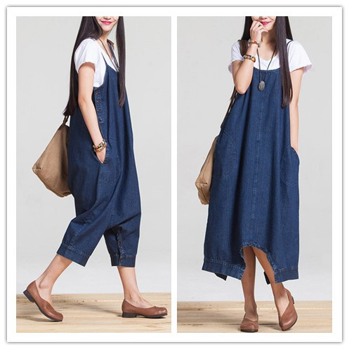 Wholesale fashion elegant women denim jumpsuit casual loose-fitting summer club girls ju ...