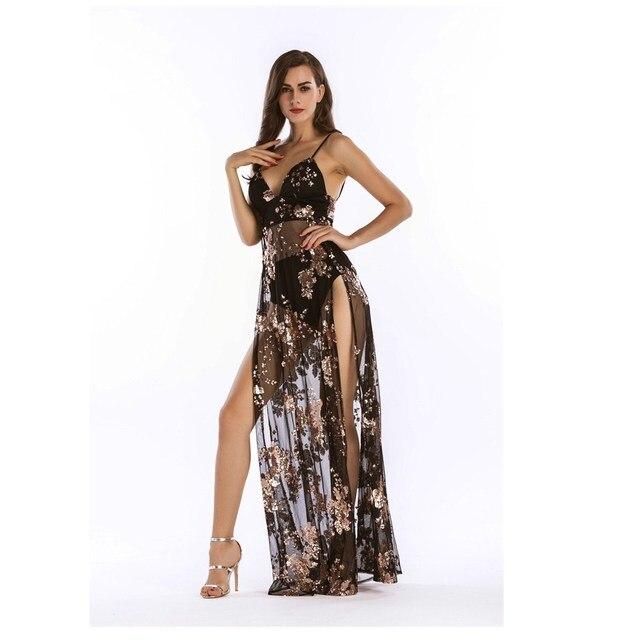 6da9c1df74c05a HAMBELELA Luxe Sexy Vrouwen Rijk Lange Pailletten Jurk Zien Door V-hals  Hoge Split Nachtclub