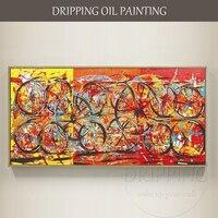 ศิลปินที่มีฝีมือมือวาดที่มีคุณภาพสูงงานศิลปะบนผนังที่ทันสมัยวงกลมภาพวาดสีน้ำมันบนผืนผ...