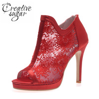 Creativesugar mesh lace sexy see through open toe summer ankle boots red white black woman high heels party prom cocktail colors