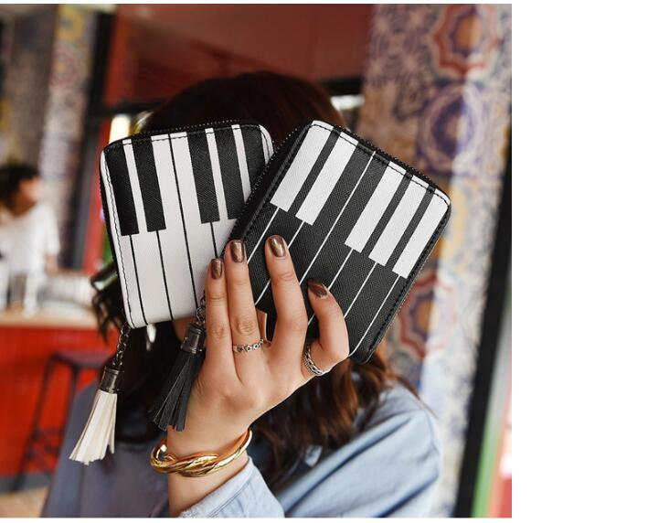 new 2 color Piano Women Mini Wallets Female Tassel Pendant Short Money Wallets Leather Lady Zipper Coin Purses