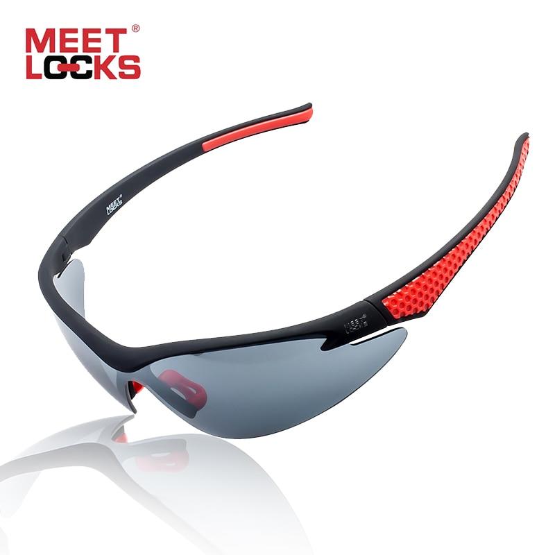 MEETLOCKS Sport Fahrrad Sonnenbrille PC-Rahmen mit Anti-Sandstorm-Linsen 100% UV-Schutz