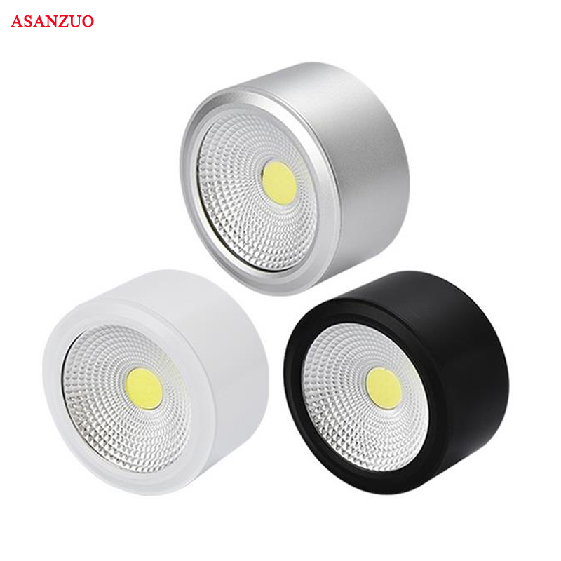 Surface Mounted LED Downlight COB Dimmable 3W 5W 7W 12W LED Ceiling Down Light AC85-265V White Black Silver Shell