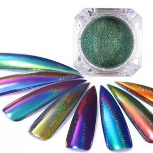 Голографический хамелеон с павлином, 0,2 г, блестки для ногтей 2020, цветной лазерный блестящий порошок, пылезащитный пигмент для дизайна ногте...