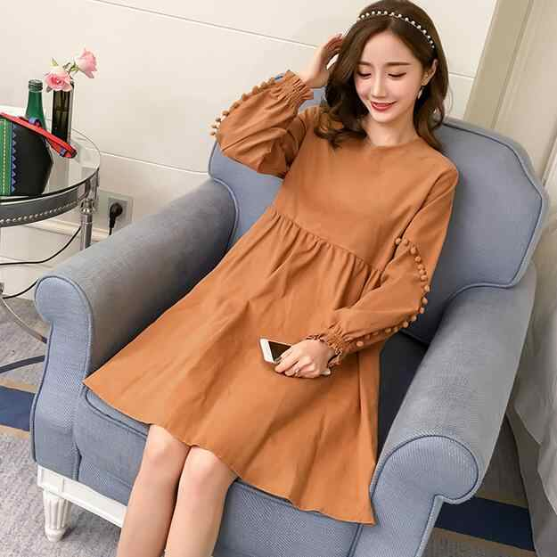 Maternity Dresses Clothes for Pregnant Women Clothing Long Sleeve Loose Pregnancy Dress Wear 2018 Autumn DF633