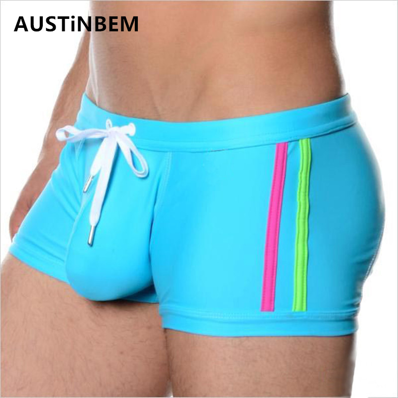 Brand Sexy Men Swimwear Men's Swimsuits Surf Board Beach Wear Man Swimming Trunks Boxer Shorts Swim Suits Gay Pouch size XL u convex pouch color block spliced edging band boxer brief