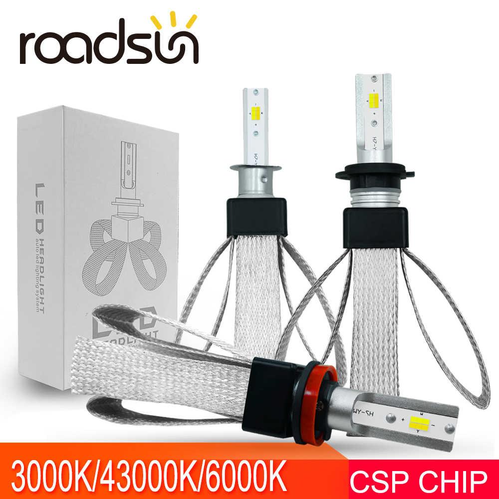 roadsun Car Headlight Bulb LED H7 H4 H1 H3 H11 H13 880 9005 9006 HB3 HB4 Led Spotlight 3000K 4300K 6000K 60W 12V Auto Led Light