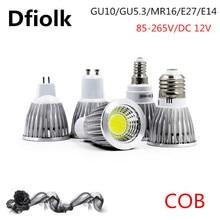 COB Светодиодный точечный светильник 6 Вт 9 Вт 12 Вт Светодиодная лампа GU10/GU5.3/E27/E14 85-265 в MR16 12 В Cob Светодиодная лампа, теплый белый свет, холодный белый свет, светодиодный светильник